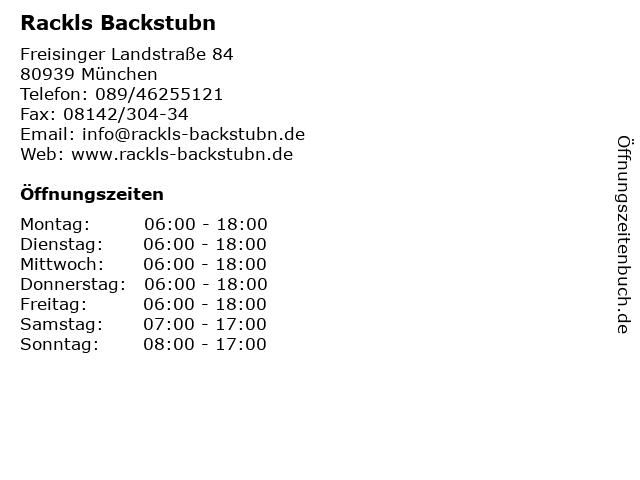 Rackls Backstubn in München: Adresse und Öffnungszeiten