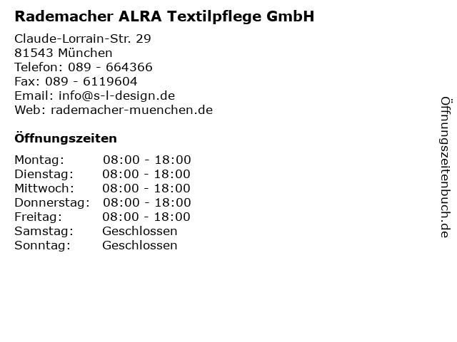 Textilpflege Rademacher GmbH in München: Adresse und Öffnungszeiten