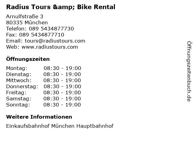 Radius Tours & Bike Rental in München: Adresse und Öffnungszeiten