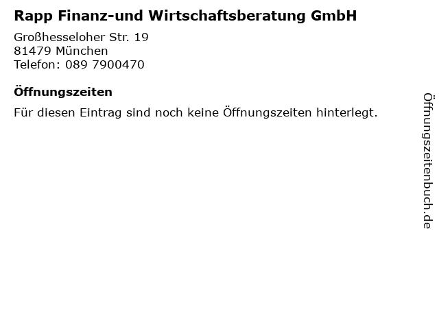 Rapp Finanz-und Wirtschaftsberatung GmbH in München: Adresse und Öffnungszeiten