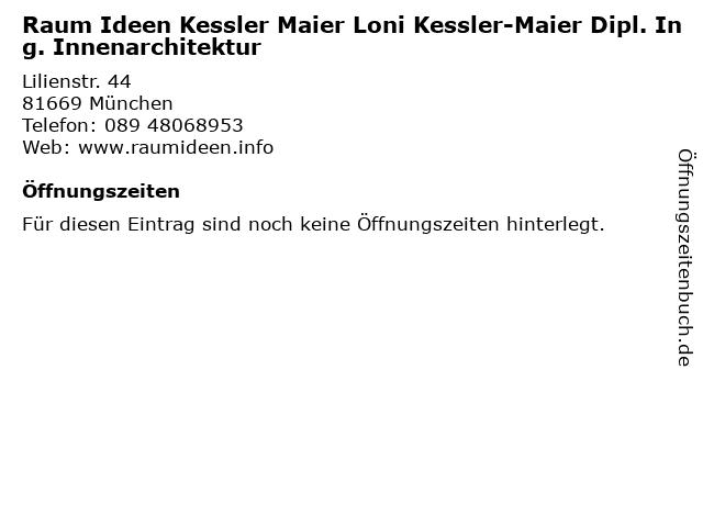 Raum Ideen Kessler Maier Loni Kessler-Maier Dipl. Ing. Innenarchitektur in München: Adresse und Öffnungszeiten