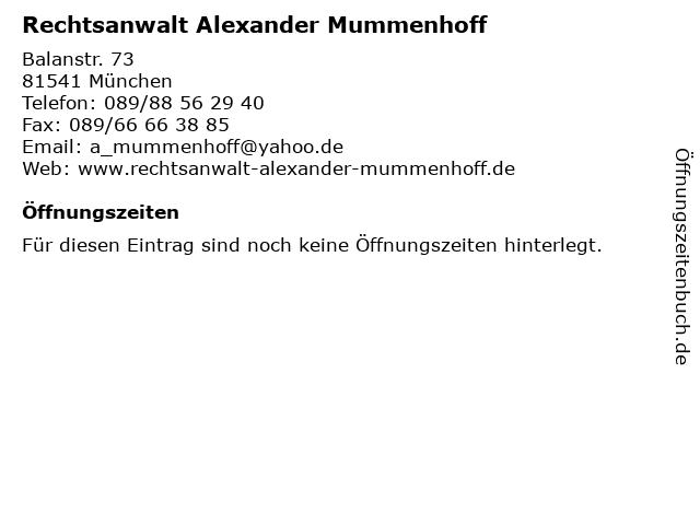 Rechtsanwalt Alexander Mummenhoff in München: Adresse und Öffnungszeiten