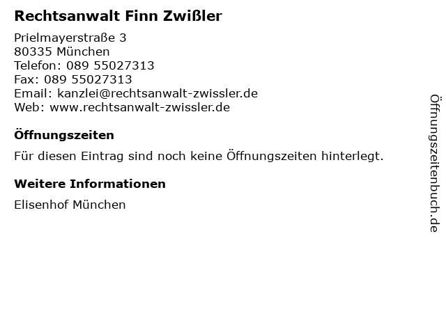 Rechtsanwalt Finn Zwißler in München: Adresse und Öffnungszeiten