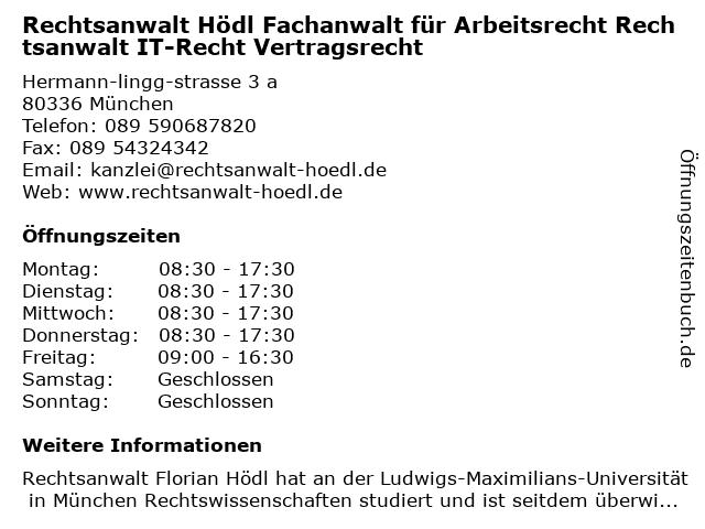 Rechtsanwalt Hödl in München: Adresse und Öffnungszeiten