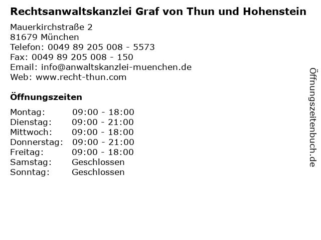 Rechtsanwaltskanzlei Graf von Thun und Hohenstein in München: Adresse und Öffnungszeiten