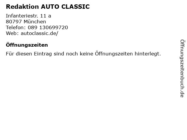 Redaktion AUTO CLASSIC in München: Adresse und Öffnungszeiten