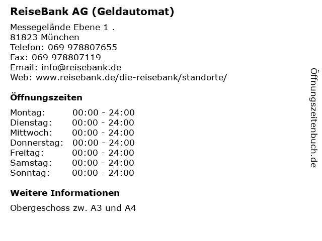 ReiseBank AG (Geldautomat) in München: Adresse und Öffnungszeiten