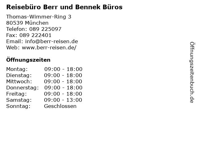 Reisebüro Berr und Bennek Büros in München: Adresse und Öffnungszeiten