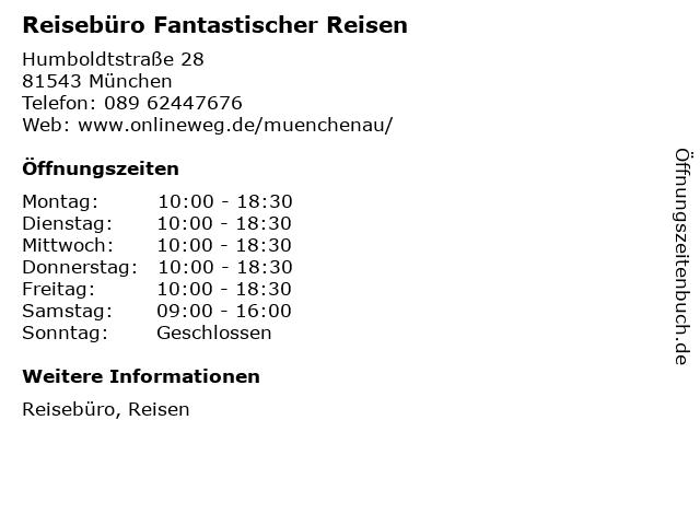 Reisebüro Fantastischer Reisen in München: Adresse und Öffnungszeiten