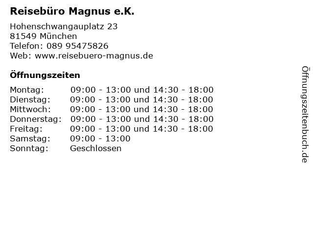 Reisebüro Magnus e.K. in München: Adresse und Öffnungszeiten