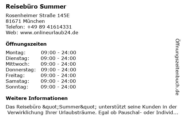 Reisebüro Summer in München: Adresse und Öffnungszeiten