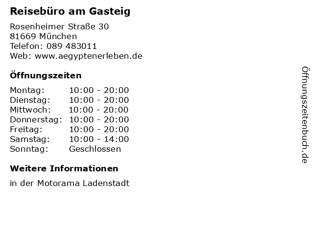 Reisebüro am Gasteig in München: Adresse und Öffnungszeiten