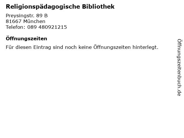 Religionspädagogische Bibliothek in München: Adresse und Öffnungszeiten