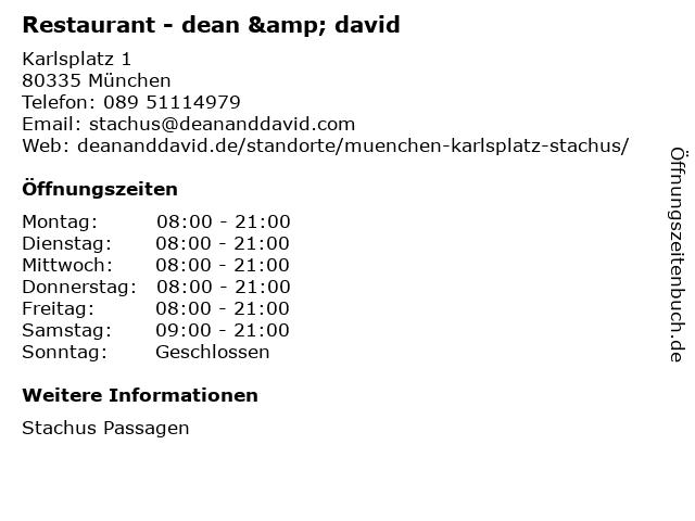 Restaurant - dean & david in München: Adresse und Öffnungszeiten
