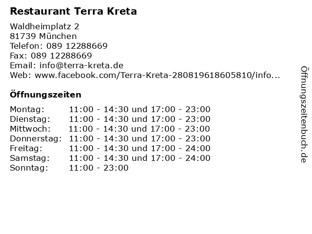 Restaurant Terra Kreta in München: Adresse und Öffnungszeiten