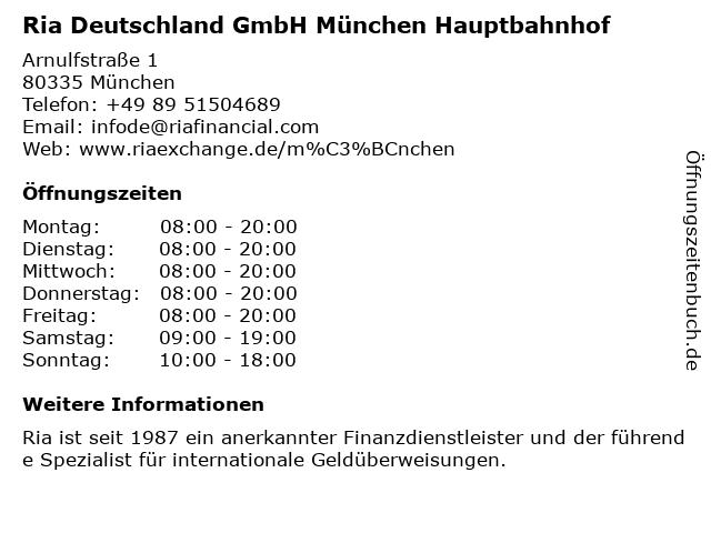 Ria Deutschland GmbH München Hauptbahnhof in München: Adresse und Öffnungszeiten