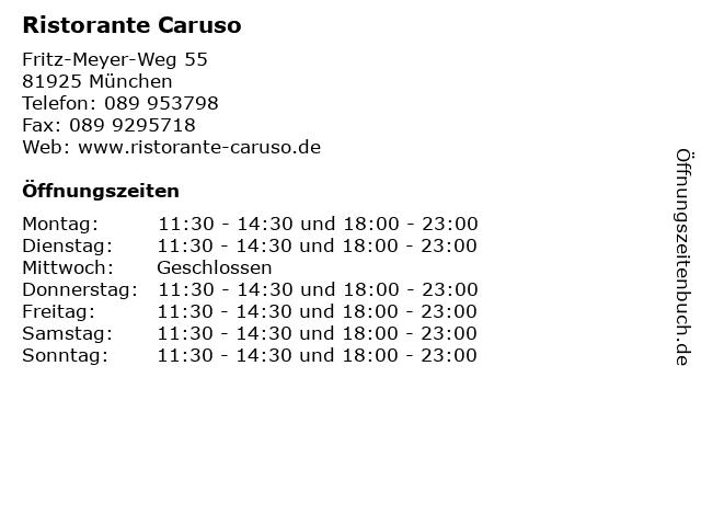Ristorante Caruso in München: Adresse und Öffnungszeiten