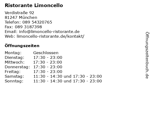 Ristorante Limoncello in München: Adresse und Öffnungszeiten