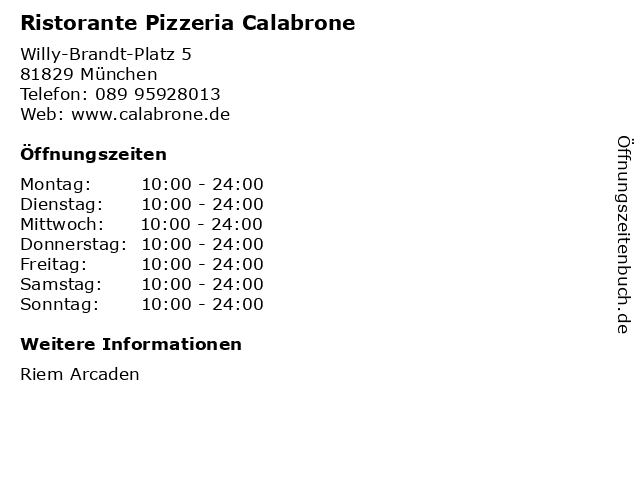 Ristorante Pizzeria Calabrone in München: Adresse und Öffnungszeiten