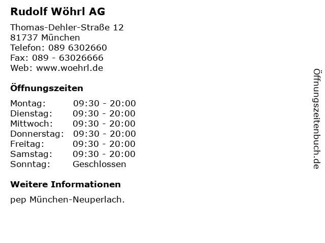 Rudolf Wöhrl AG in München: Adresse und Öffnungszeiten