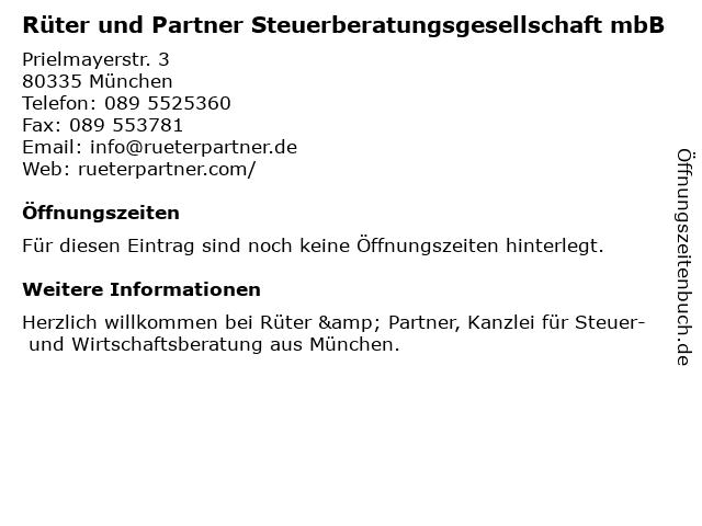 Rüter und Partner Steuerberatungsgesellschaft in München: Adresse und Öffnungszeiten