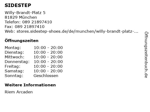 SIDESTEP in München: Adresse und Öffnungszeiten