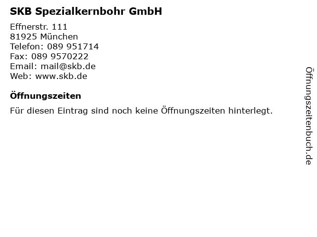 SKB Spezialkernbohr GmbH in München: Adresse und Öffnungszeiten