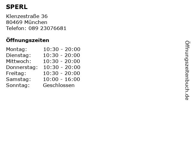 SPERL in München: Adresse und Öffnungszeiten
