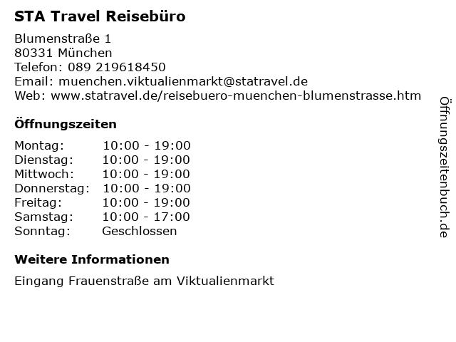 STA Travel Reisebüro in München: Adresse und Öffnungszeiten