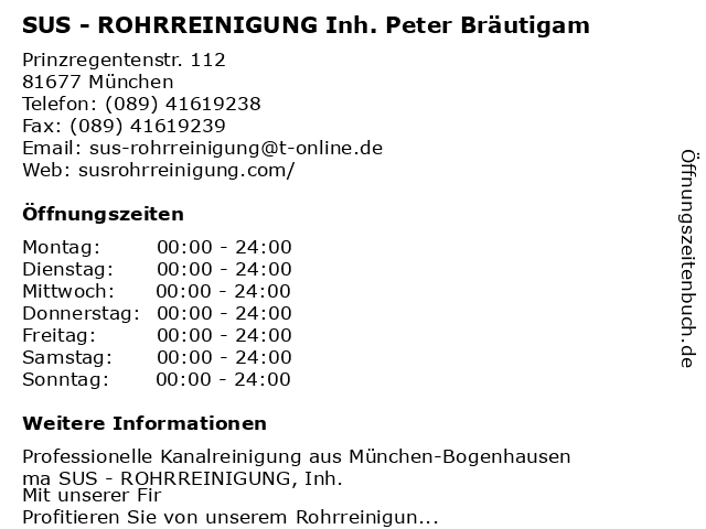 SUS - ROHRREINIGUNG Inh. Peter Bräutigam in München: Adresse und Öffnungszeiten