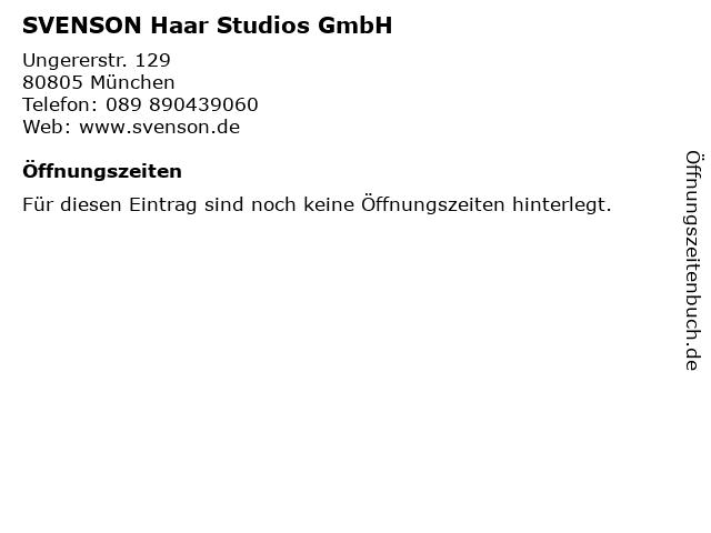 ᐅ öffnungszeiten Svenson Haar Studios Gmbh Ungererstr 129 In