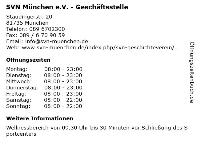 SVN München e.V. - Geschäftsstelle in München: Adresse und Öffnungszeiten