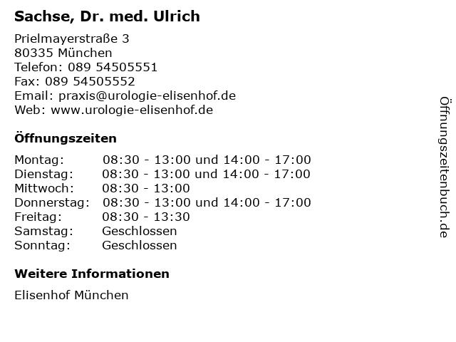 Sachse, Dr. med. Ulrich in München: Adresse und Öffnungszeiten