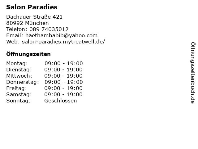 Salon Paradies in München: Adresse und Öffnungszeiten
