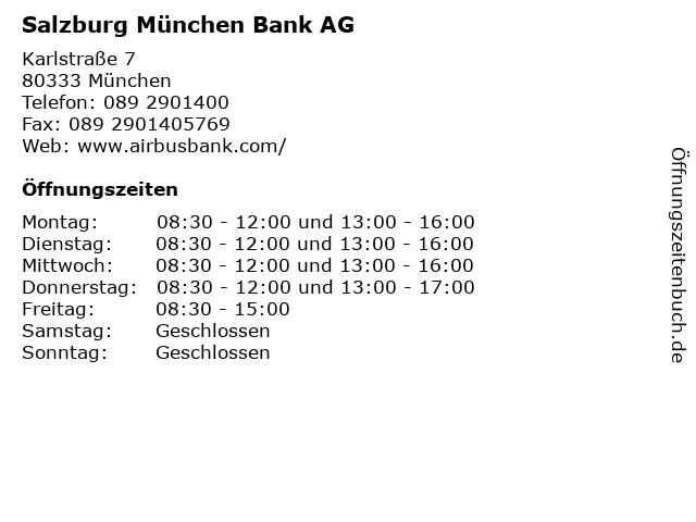 Salzburg München Bank AG in München: Adresse und Öffnungszeiten