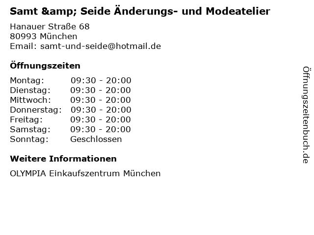 Samt & Seide Änderungs- und Modeatelier in München: Adresse und Öffnungszeiten