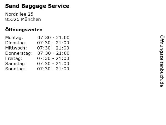 Sand Baggage Service in München: Adresse und Öffnungszeiten