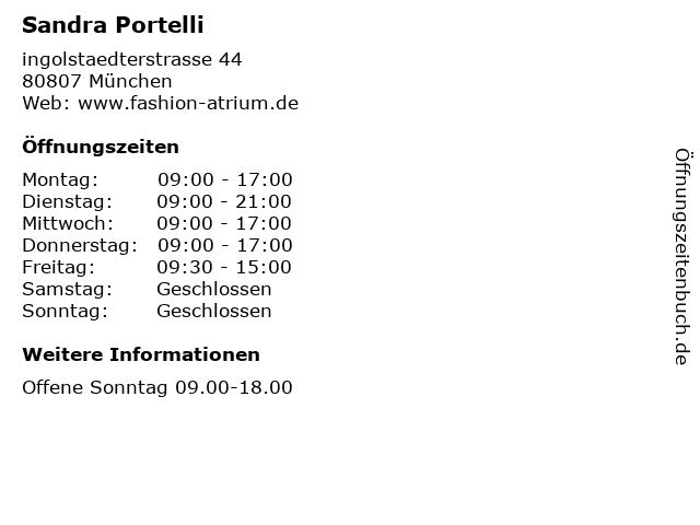 Sandra Portelli in München: Adresse und Öffnungszeiten