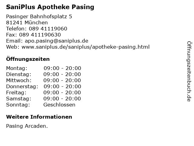 SaniPlus Apotheke Pasing in München: Adresse und Öffnungszeiten