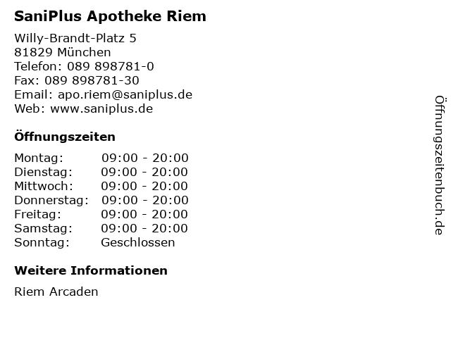 SaniPlus Apotheke Riem in München: Adresse und Öffnungszeiten
