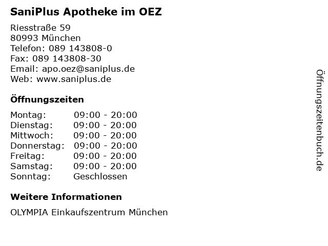 SaniPlus Apotheke im OEZ in München: Adresse und Öffnungszeiten