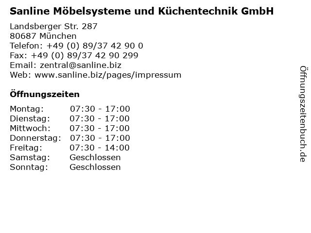 Sanline Möbelsysteme und Küchentechnik GmbH in München: Adresse und Öffnungszeiten