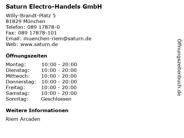 Saturn Electro-Handels GmbH in München: Adresse und Öffnungszeiten
