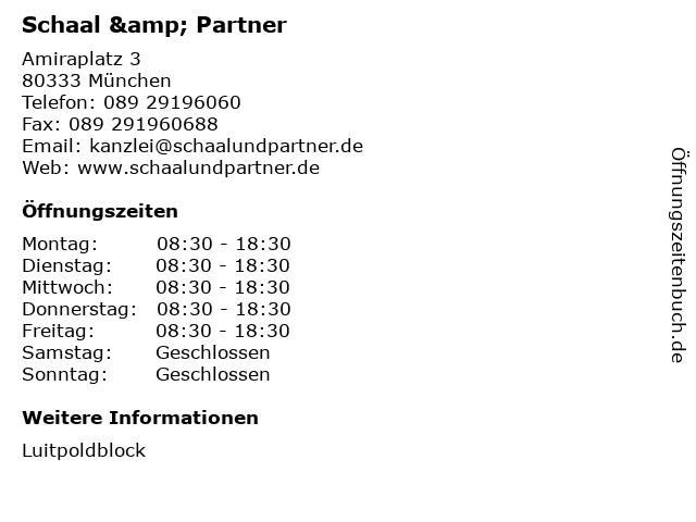 Schaal & Partner in München: Adresse und Öffnungszeiten