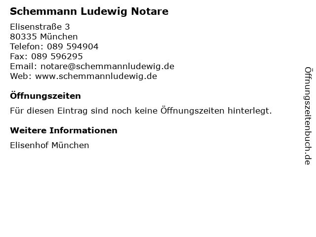 Schemmann Ludewig Notare in München: Adresse und Öffnungszeiten