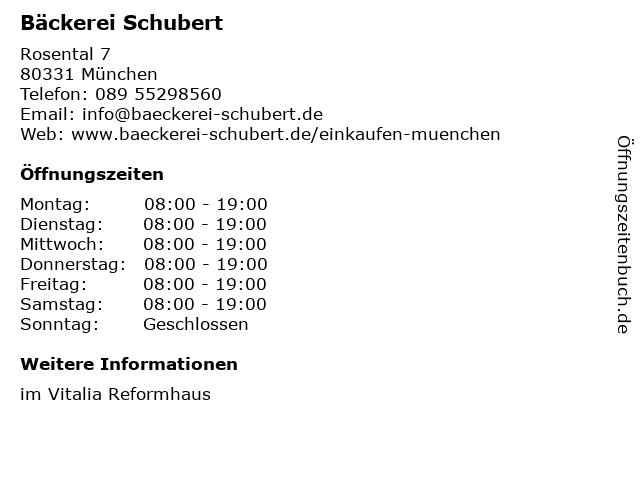 Schubert Bio & Vollwert Bäckerei GmbH & Co KG in München: Adresse und Öffnungszeiten