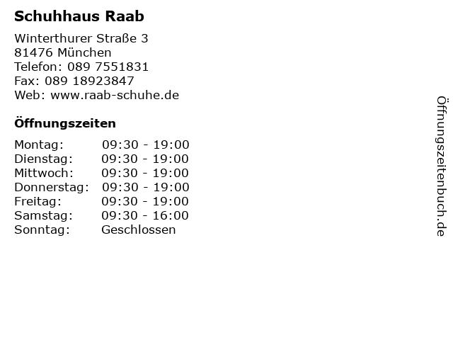 Schuhhaus Raab in München: Adresse und Öffnungszeiten