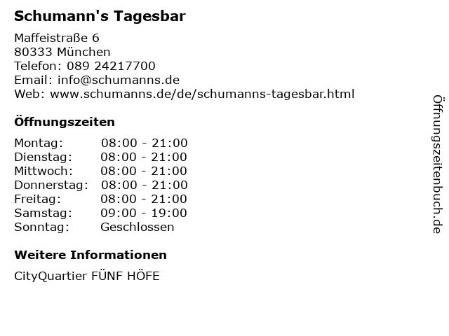 Schumann's Tagesbar in München: Adresse und Öffnungszeiten