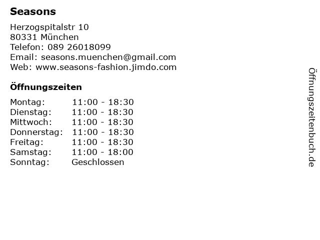Seasons in München: Adresse und Öffnungszeiten
