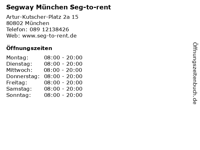 Segway München Seg-to-rent in München: Adresse und Öffnungszeiten